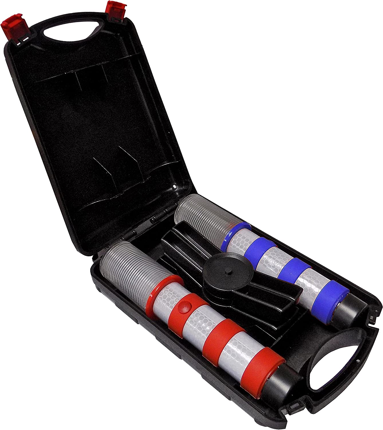 Red + Blue Electriduct Road Emergency Beacon LED Flare KIT with Storage Case