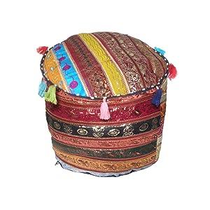 Royal Kraft Jaipuri Assorti Recyclé Paillettes Patchs Polycoton Vide Pouf Couverture