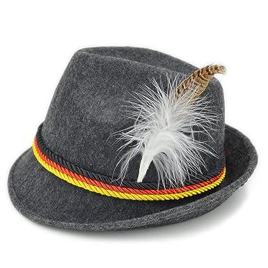 29ac6cf07eb5cc Amazon.com: Melesh Adult Felt Swiss German Alpine Bavarian Oktoberfest Hat  Cap: Clothing