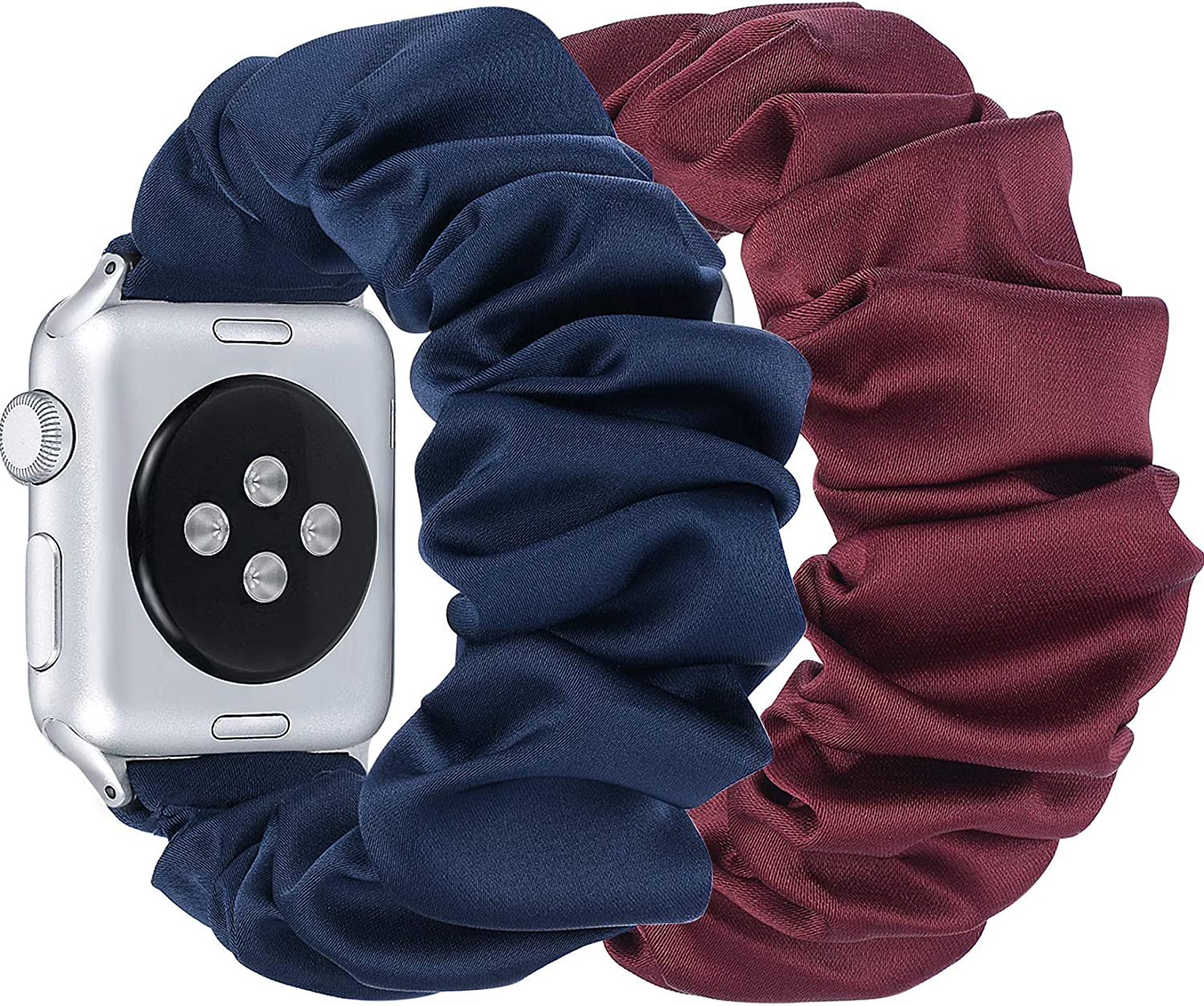 fastgo Compatible with Scrunchie Apple Watch Band Series 5/4 38mm/40mm,Women Girl Gift Elastic Bracelet Sport Strap Stretchy Replacement Wristband for Iwatch 3/2/1(Wine Red & Dark Blue,38/40mm)