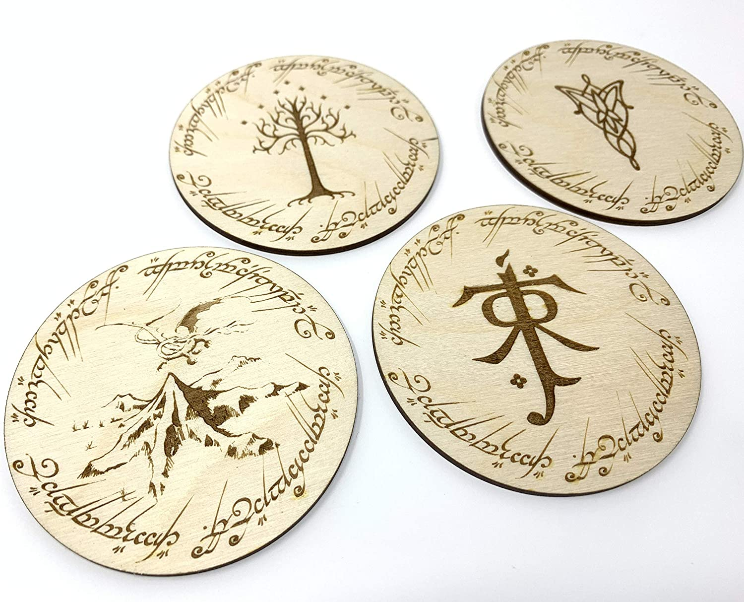 Geekilicious Art Lord of The Rings Round Coasters | Tolkien's Lord of The Rings & The Hobbit | Wood | Set of 4