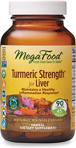 MegaFood, Turmeric Strength for Liver, 90 Tablets, Maintains a Healthy Inflammation Response, Vitamin and Herbal Dietary Supplement Vegan, 45 Servings FFP
