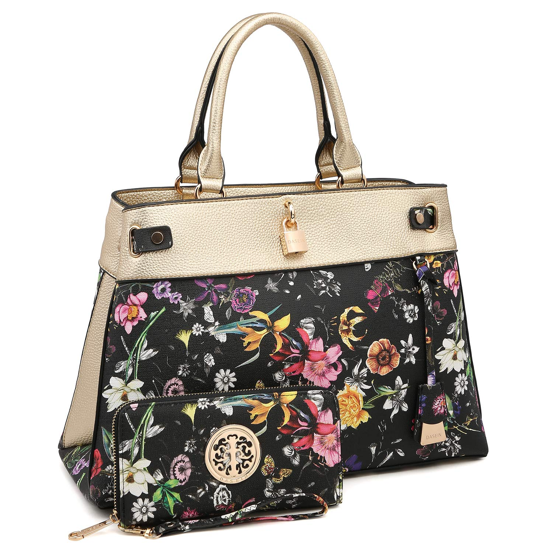 6752058a569 Amazon.com: MMK Women's Designer Handbags Fashion Satchel Bags Spring  colors Structured Handbag Shoulder Bag Extra coin purse Wallet  (8015-Gold/Black ...