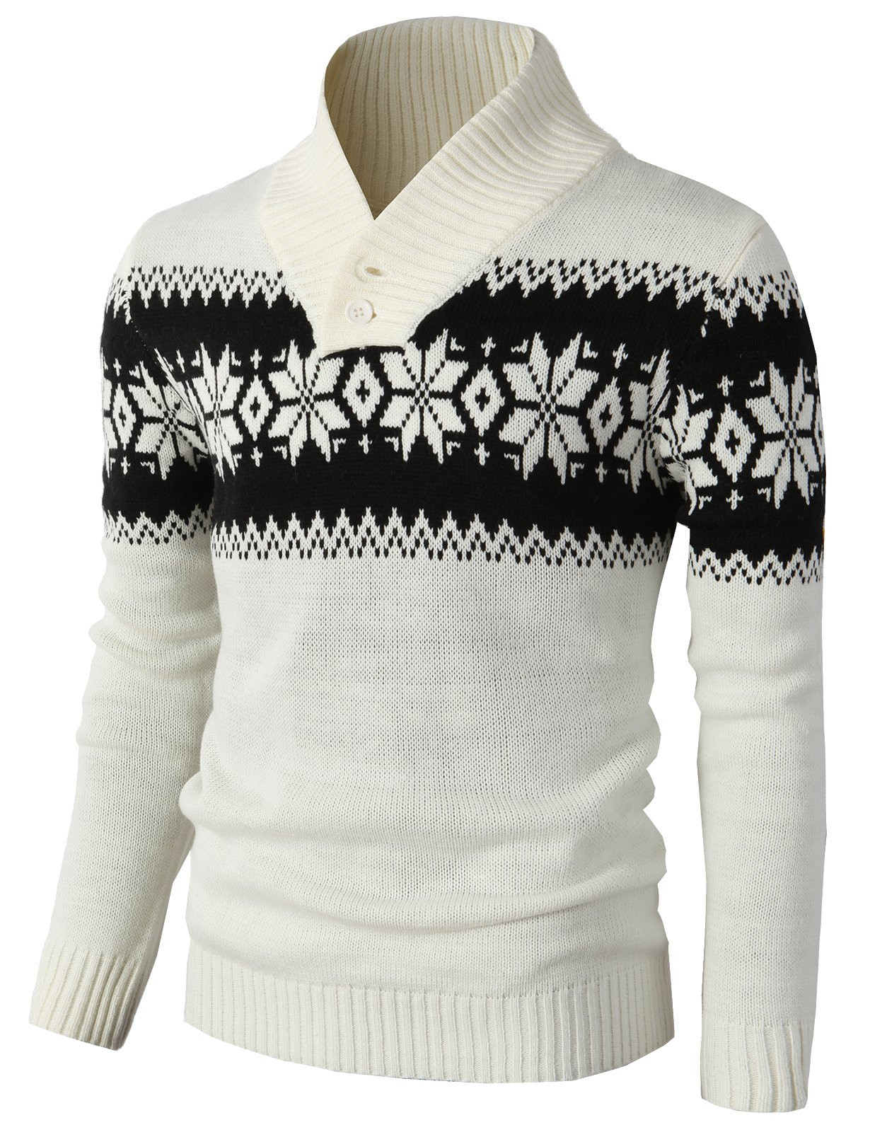 H2H Mens Casual Slim Fit Shawl Collar Pullover Sweater with Rib-Banded White US XL/Asia 2XL (KMOSWL0102)