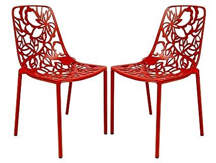 Charmant LeisureMod Modern Devon Aluminum Armless Chair, Red, Set Of 2
