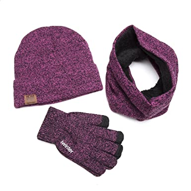 677f455fff8 XGVOKH Unisex 3PCS of Pack knitting Hat+ Full Finger Touch Screen ...