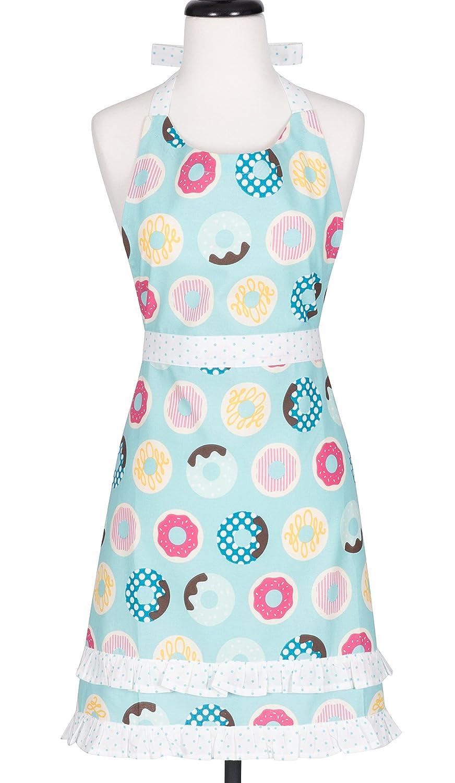KAF Home KA-DOH-18 Doughnuts Child's Hostess Extra Long Ties – Adjustable Bib Donut Apron-Machine Wash-Used in Kitchen, Gardening