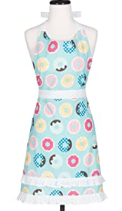 KAF Home KA-DOH-18 Doughnuts Child's Hostess Extra Long Ties – Adjustable Bib Donut Apron-Machine Wash-Used in Kitchen, Gardening