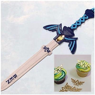 Zelda Master Sword Personalized Cake Topper and 1 Dozen Zelda Crest Cupcake Toppers: Handmade