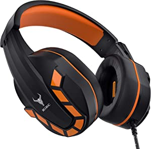 Kikc PS4 Gaming Headset with Mic for Xbox One, PS5, PC, Mobile and Notebook, Gaming Headphones with Controllable Volume Box and Soft Earmuffs, Xbox One Headset with 120-Degree Rotating Mic for Kids