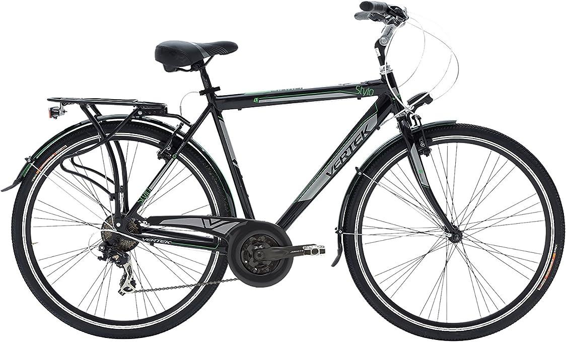 VERTEK Bicicleta 28 City Bike Stylo Antracita/Verde: Amazon.es ...