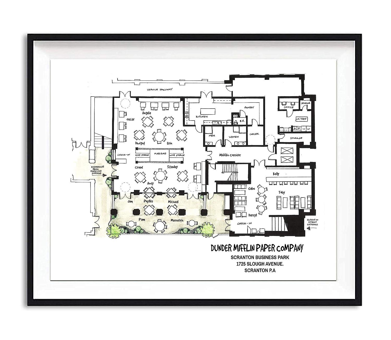Home Kitchen Office Plan The Office Floor Plan Poster Hand Drawn 8 5x11 Architectural Print The Office Print Dunder Mifflin Floor Plan Artwork