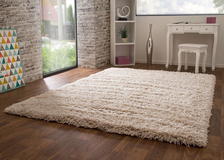 Hochflor Langflor Teppich Pindos in Beige, Flauschig, Ökotex Zertifiziert, Wohnzimmer, Größe: 140x200 cm