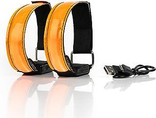 Lot DE 2 BRASSARDS Rechargeables À LED Sécurité de Nuit Haute visibilité - Réfléchissant pour Sport, Running, Jogging, Cyclisme, vélo, Marche - Lumière Fixe ou Clignotante - Charge par USB (Orange)