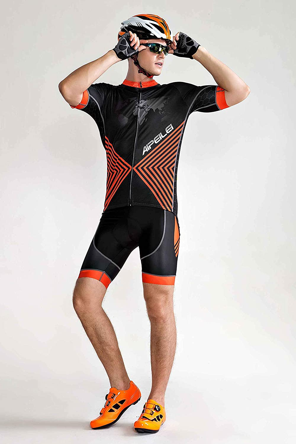 Mens Short Sleeves Cycling Jersey Full Zip Set Road Bike Bib Jersey Suit Cycle Shorts with 3D Padded