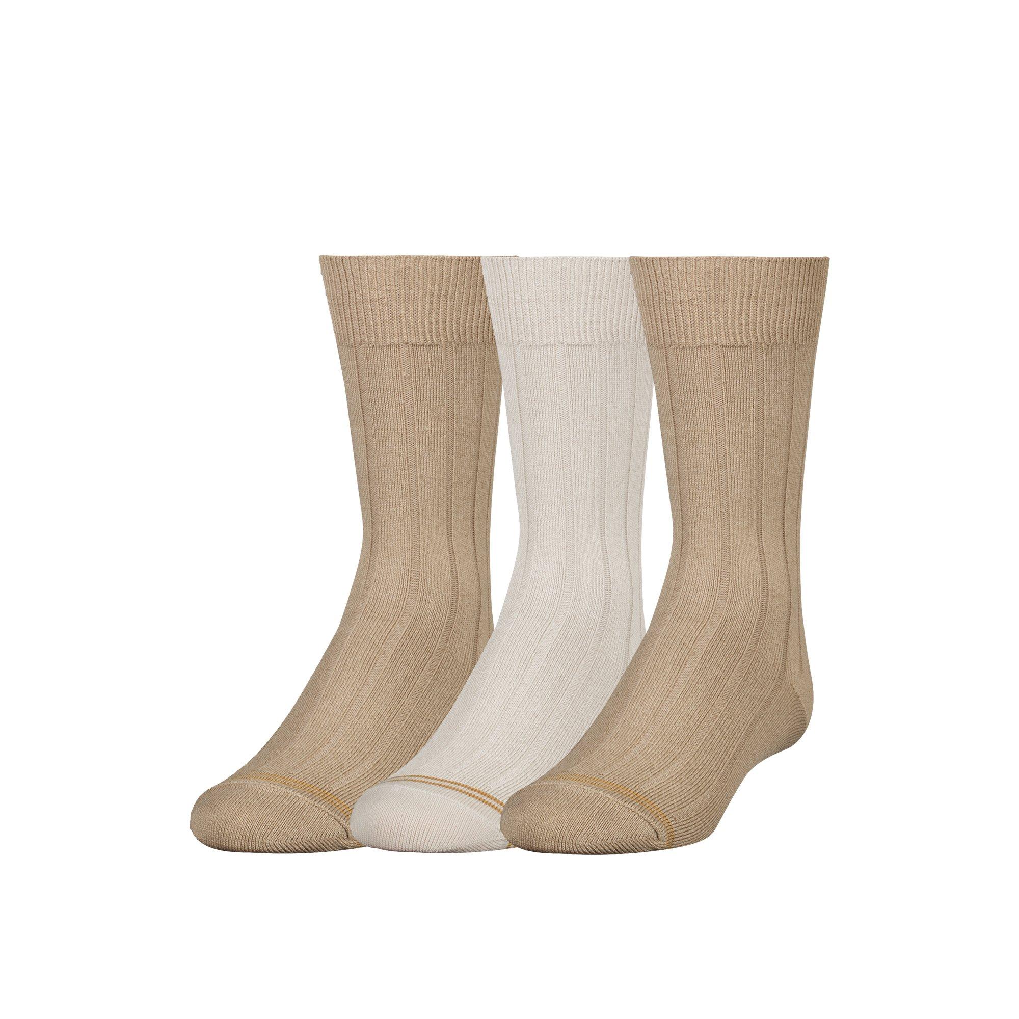Gold Toe Boy's 8-20 Wide Rib Crew Socks (3 Pair), Khaki/Stone/Khaki, Large