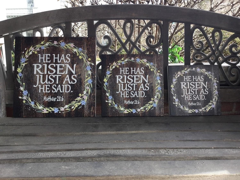 Mathew 28:6 CANVAS Inspirational Scripture He Has Risen Easter Decor Sign Rustic Woodgrain Background