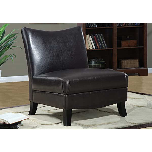 Monarch Specialties Leather-Look Accent Chair, Dark Cappuccino