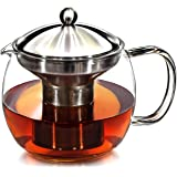 Teapot with Infuser for Loose Tea - 40oz, 3-4 Cup Tea Infuser, Clear Glass Tea Kettle Pot with Strainer & Warmer - Loose…