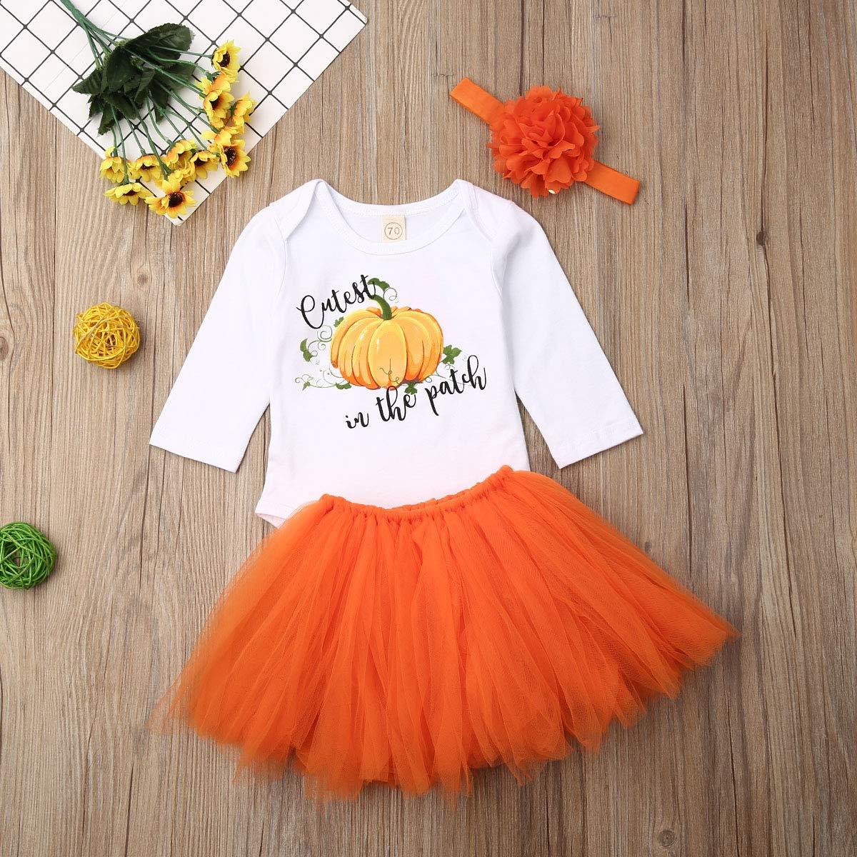 Baby Girl Halloween Outfits Newborn Pumpkin Romper Orange Tutu Skirt with Headband 3pcs Dress Set