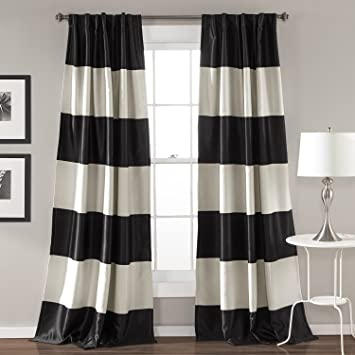 2pc 84 Montego Black Light Grey Rugby Stripes Curtains Pair Panel Set Nautical Sports Themed