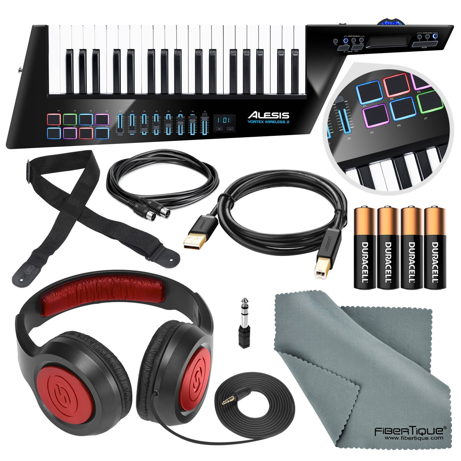 Alesis Vortex Wireless 2 USB/MIDI Keytar Controller with Samson Headphones, Strap, Cables, Batteries, and Microfiber Cloth by Alesis
