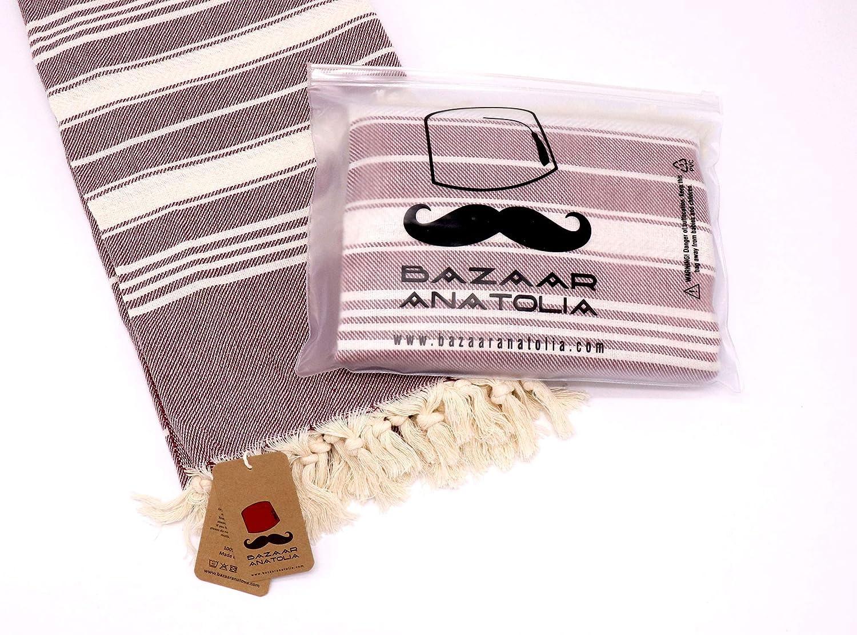 Bazaar Anatolia Stripe Turkish Towel 100/% Cotton Peshtemal Bath Towel 75x38 Thin Lightweight Travel Camping Bath Sauna Beach Gym Pool Blanket Fouta Quick Dry Towels Black