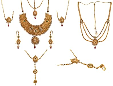 a15ca65bc7 Buy Dazzle Gold Copper Bridal Jewellery Set for Women (BR-AGNS-001) Online  at Low Prices in India   Amazon Jewellery Store - Amazon.in