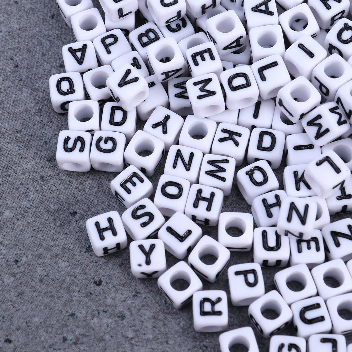Blanc ultnice lettres perles Cube Perles pour DIY Bijoux Bracelets Colliers Porte-cl/és 800/morceaux 6/mm