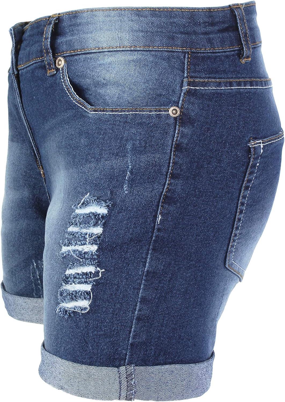 BlauerHafen Damen Jeans Shorts Destroyed Bermuda Stretch Hotpants Denim Kurze Hose