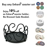 ENKORE Black Iron Metal Coaster Holder For 4 to 8