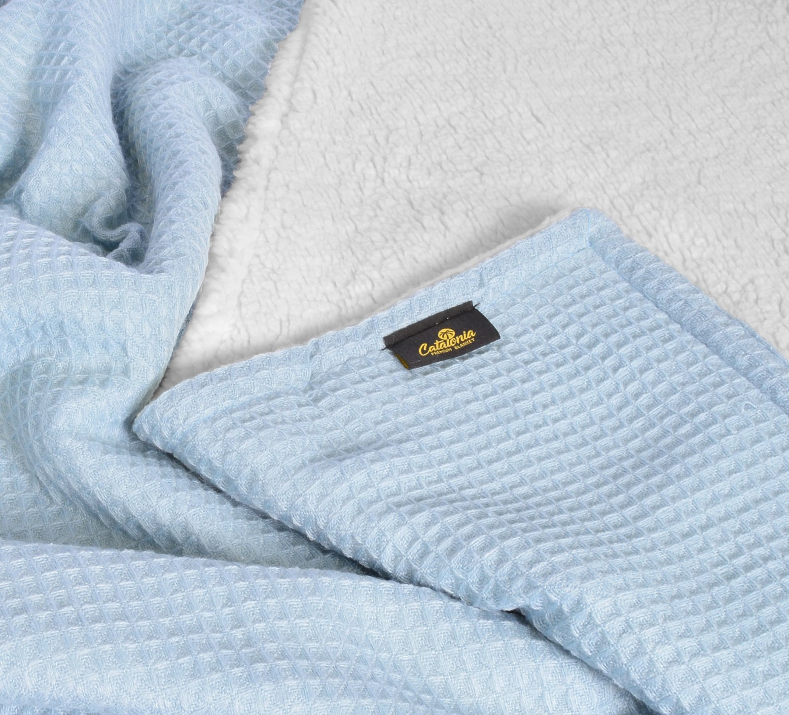 Super Soft Sherpa Throws,Reversible Cozy Waffle Pattern Knitted Blanket and Throw for Couch Bed 50\