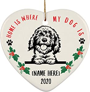 Lovesout Personalized Name Goldendoodle Peeking Home is Where My Dog is Christmas Heart Ornament