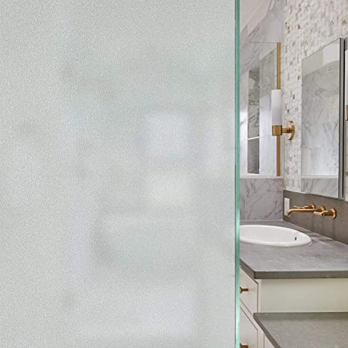 Privacy Window Film Frosted Glass Window Film Frosted Sticker Anti UV Heat Control Frosted Window Glass Film Static Cling Removable Frosted Film for Home Shower Bathroom Office – 35.4 x 393.7 inches