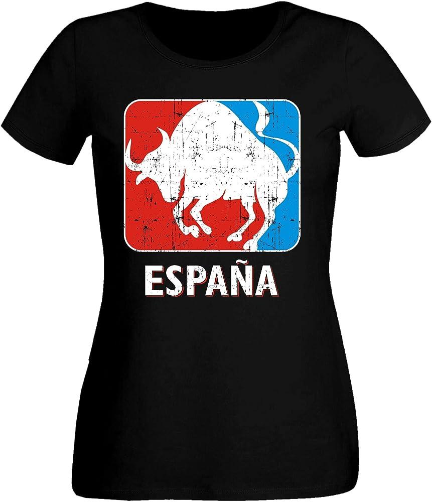 aprom SC ESP 9 Toro Espana Sport Soccer - Camiseta para Mujer Negro XS: Amazon.es: Ropa y accesorios