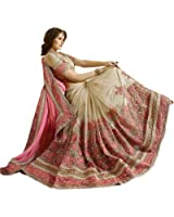 Nivah Fashion Women's Sattin Chifon & Net Half & Half Embroidery With Real Diamond's Material Sarees V-01
