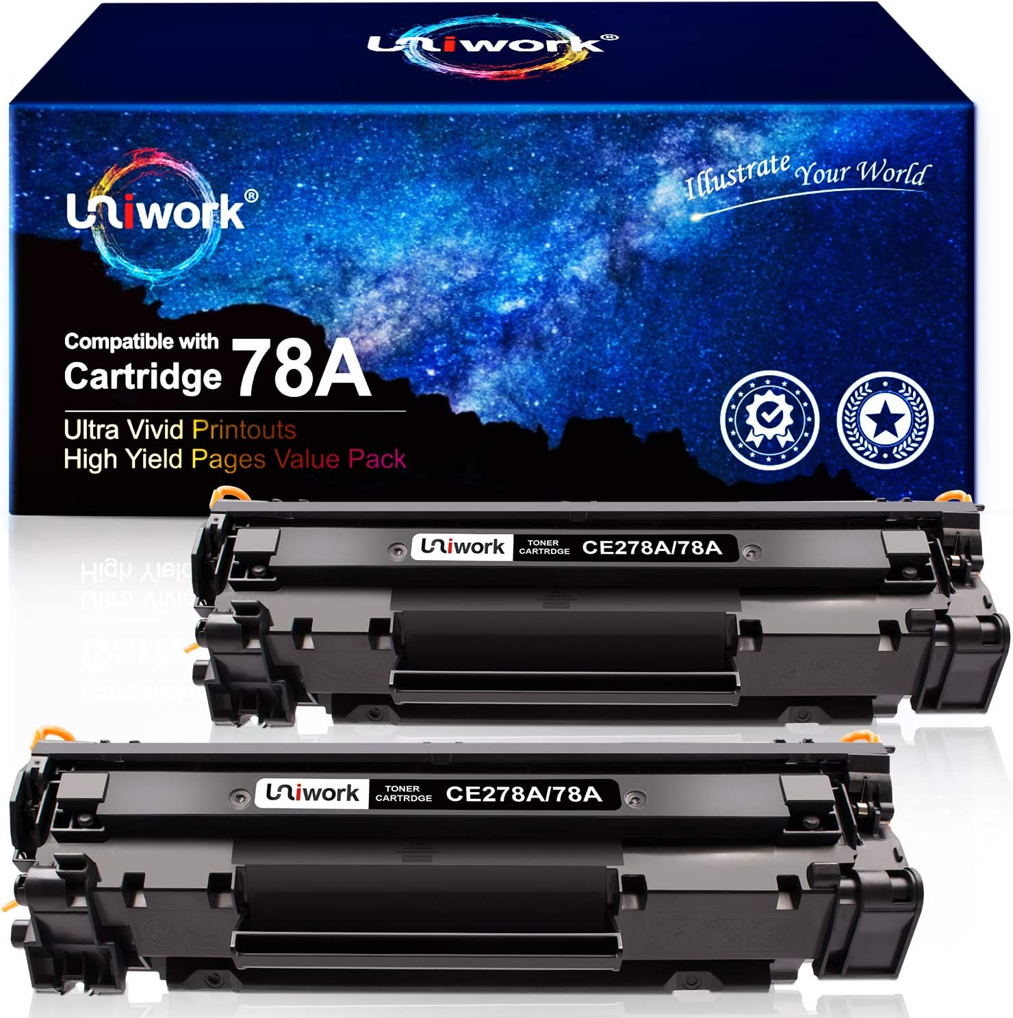 Uniwork Compatible Toner Cartridge Replacement for HP 78A CE278A use for Laserjet Pro P1606dn, M1536dnf, P1566, P1560, P1606, M1536 Printer (2 Black)