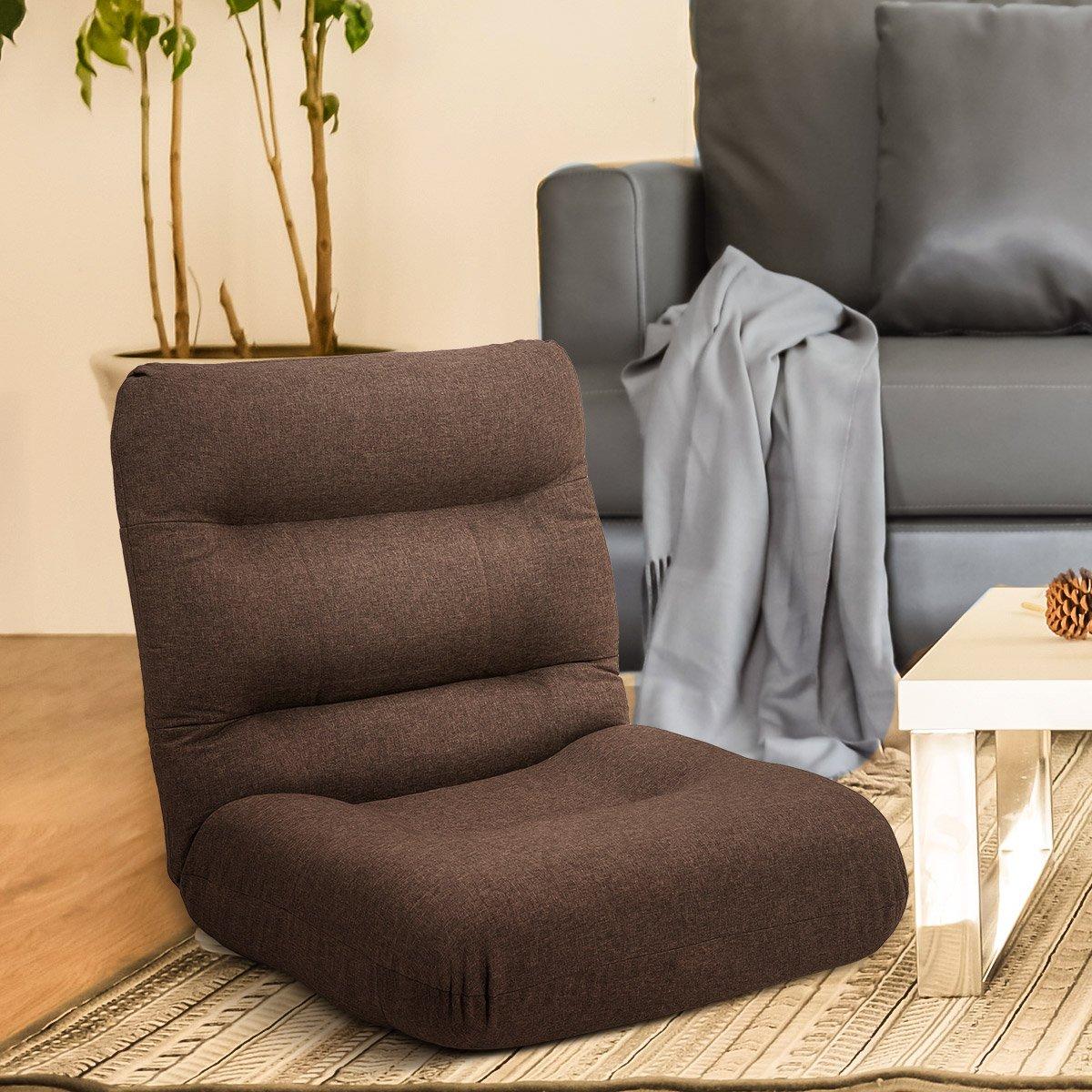 Harper & Bright Designs Adjustable Floor Sofa Gaming Chair Lazy Sofa Folding Chair Cushion (Brown)
