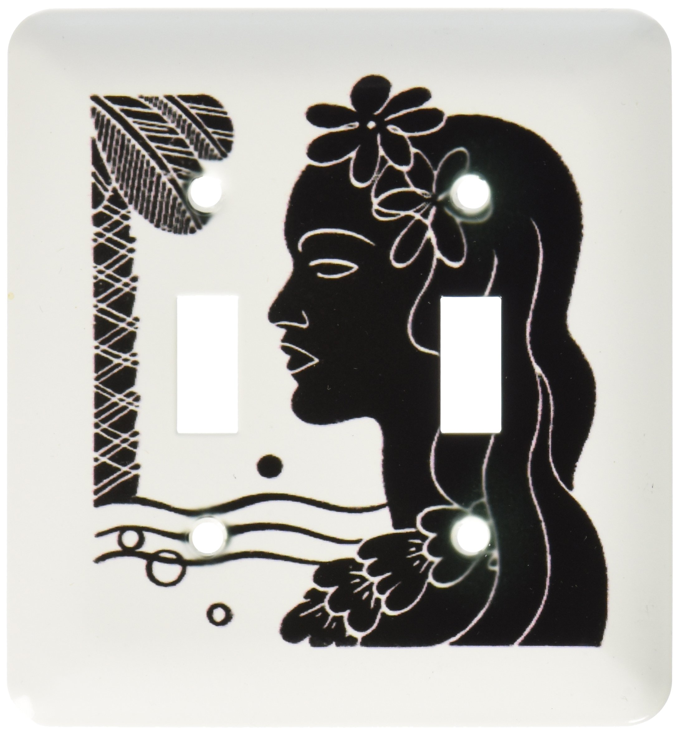 3dRose LLC lsp_100585_2 Black N White Digital Image of Hawaiian Lady Double Toggle Switch