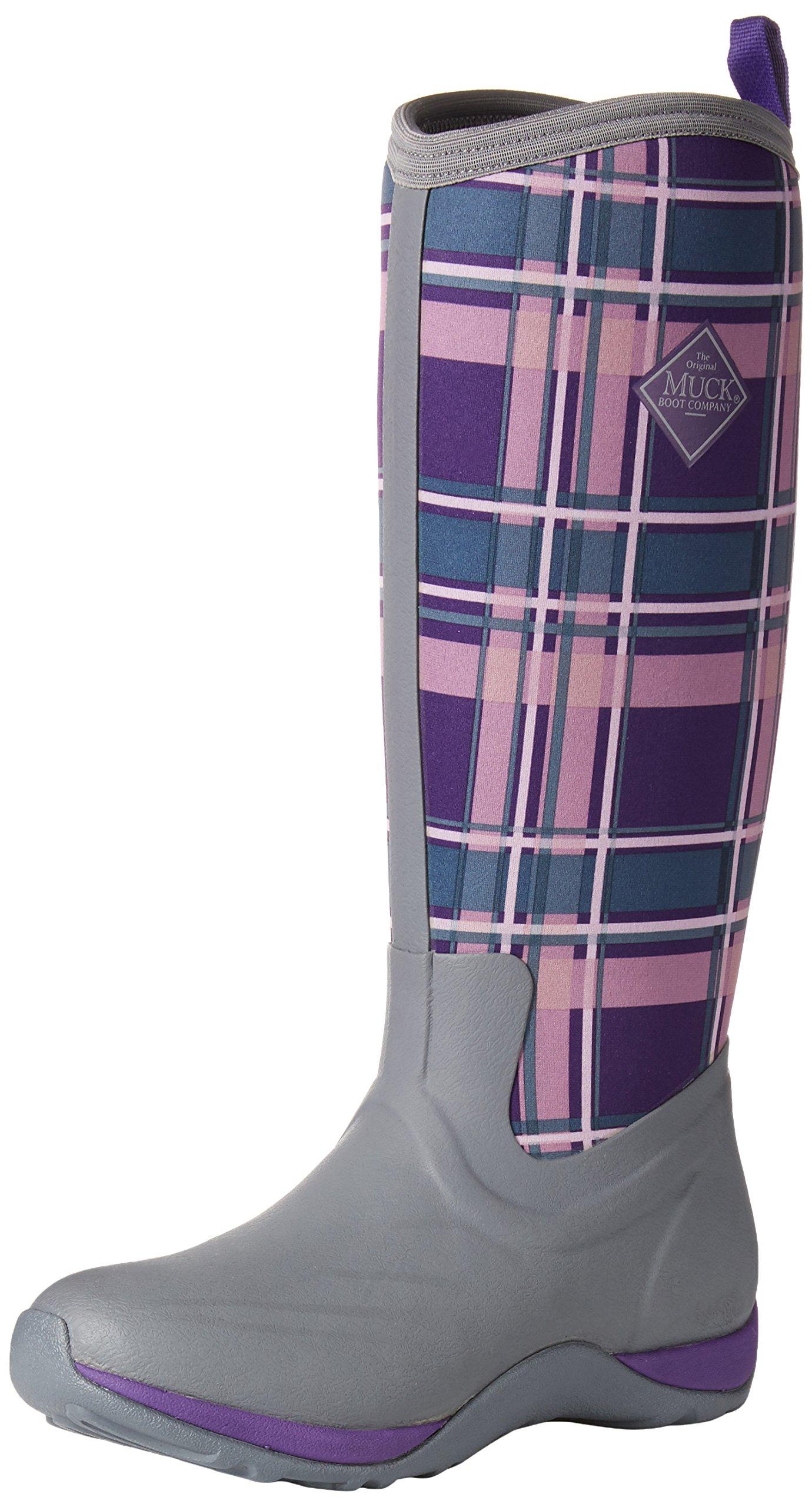 Muck Boot Women's Arctic Adventure Tall Snow Boot, Gray/Acai Purple Plaid, 8 US/8 M US