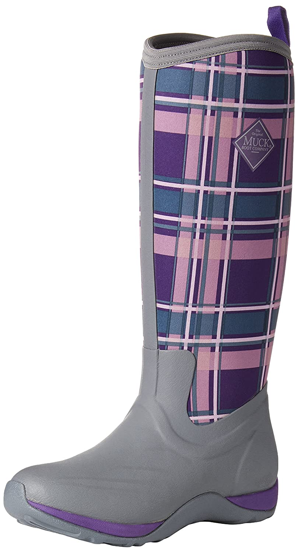 Muck Boot Women's Arctic Adventure Tall Snow Boot B00TT3GPJO 6 B(M) US|Gray/Acai Purple Plaid