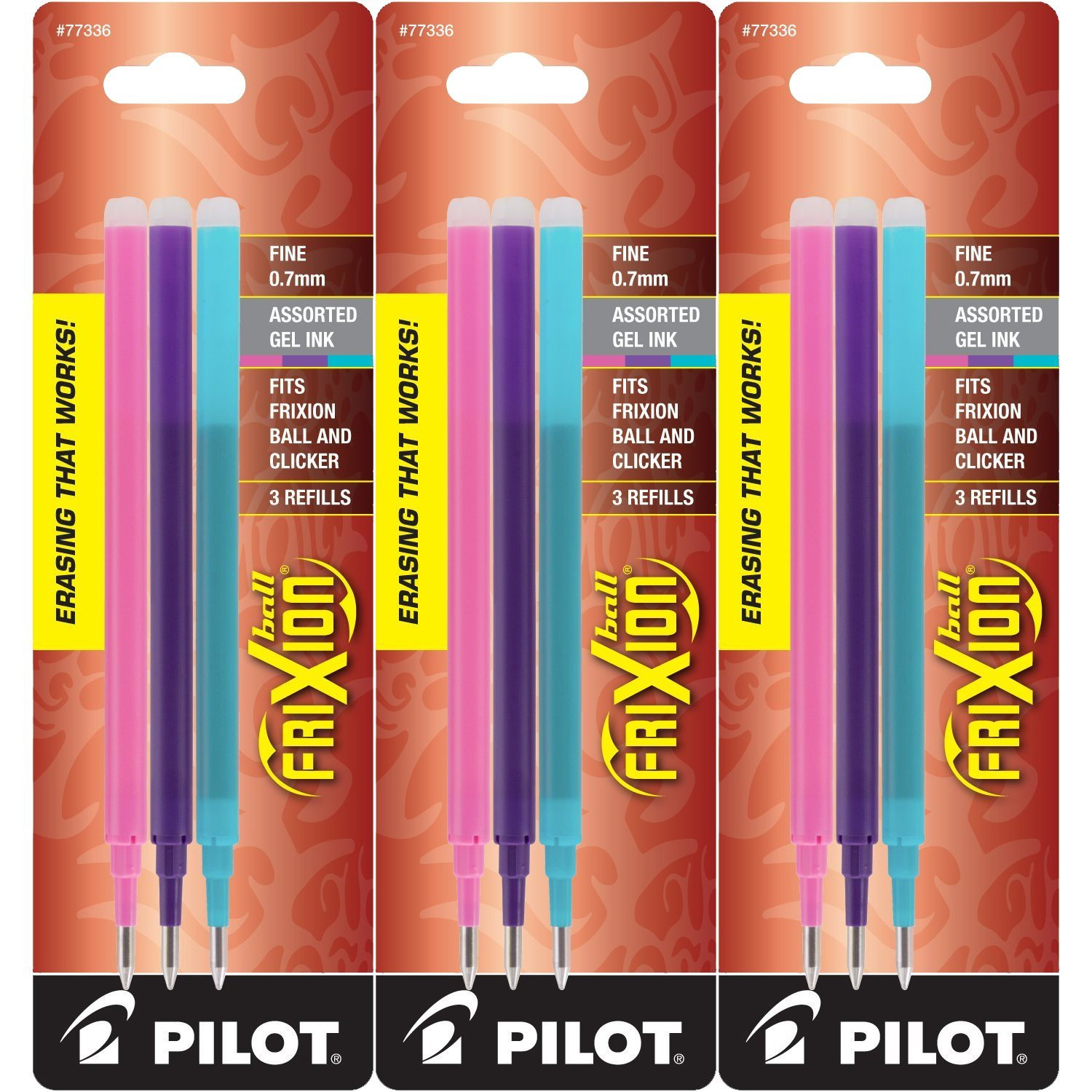 Pilot Refills for Frixion Erasable Gel Ink Pens, Fashion Assorted, Pack of 9 (77336) by Pilot