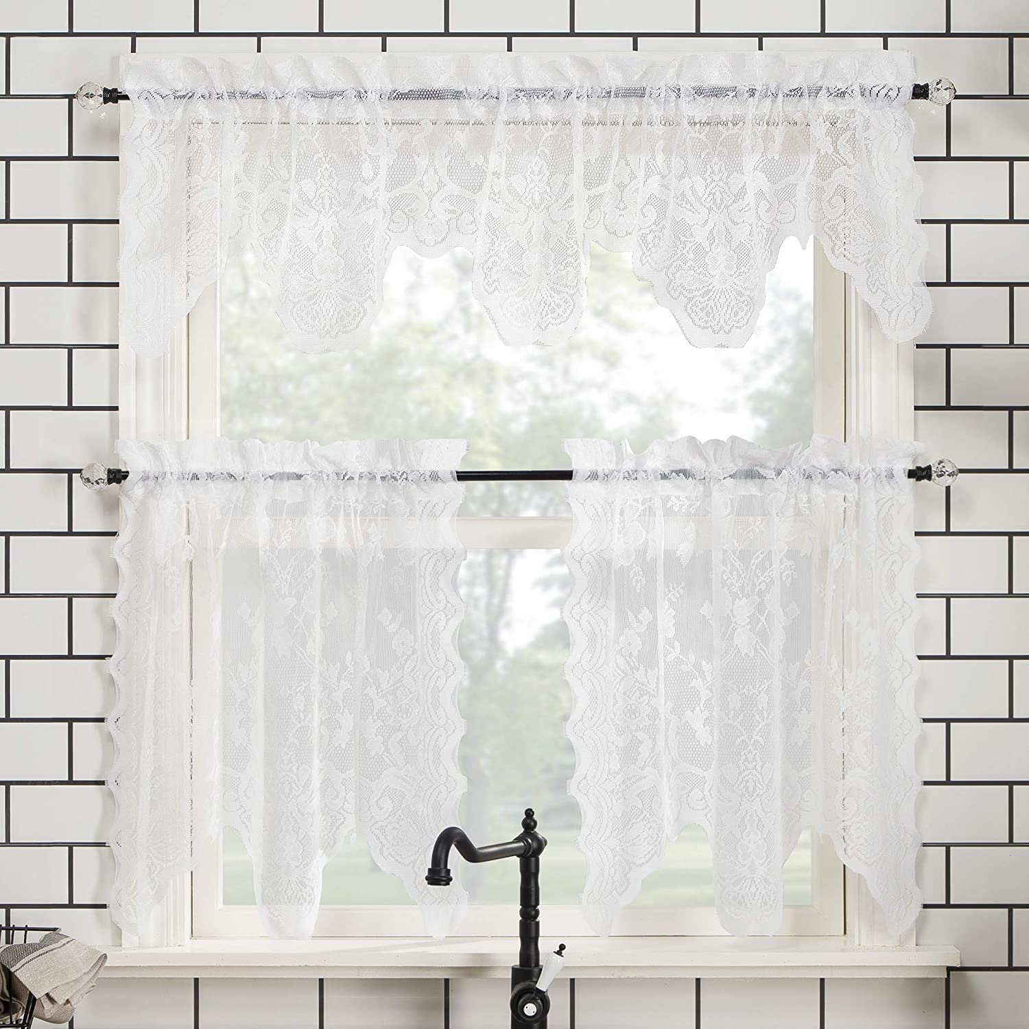 """No. 918 Alison Floral Lace Sheer Rod Pocket Kitchen Curtain Valance and Tiers Set, 58"""" x 36"""" 3-Piece, White"""