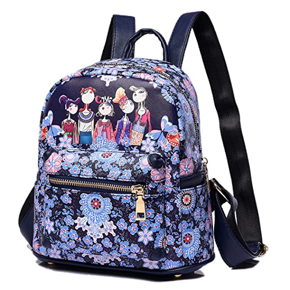 Amazon.com: Woman All-match New Backpack Fashion Printing PU girls Bag Student Bag Large Capacity Bag: Clothing