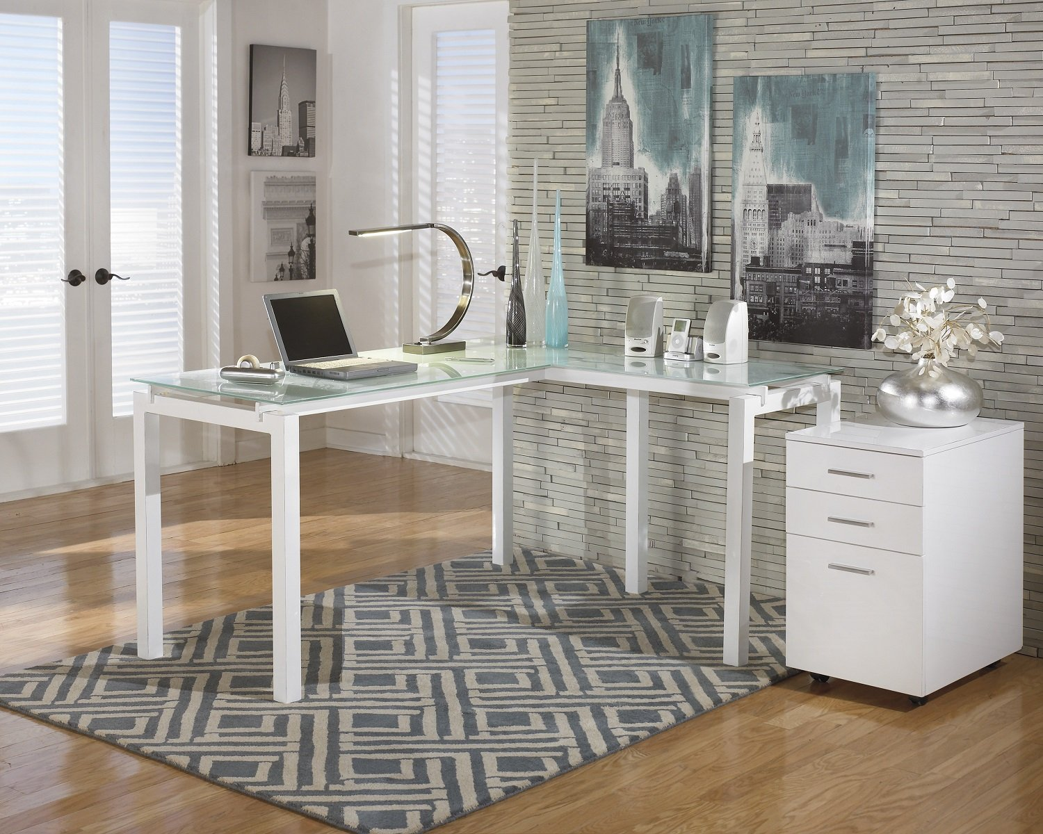 Baraga White L-Shape Home Office Desk w- File Cabinet