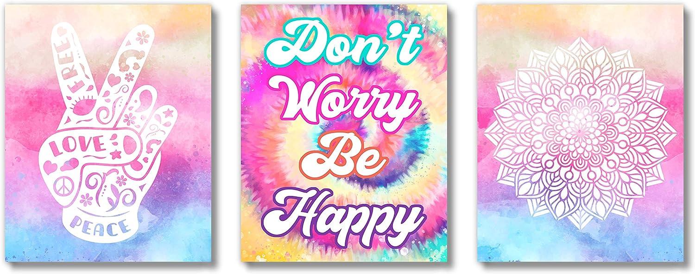 Brooke & Vine VSCO Tie Dye Girls Room Wall Decor Art Prints - (UNFRAMED 8 x 10) - Peace, Love, Mandala, Boho, Girl Teen Tween Kids, Inspirational Posters for Home, Bedroom, Dorm, Office, Cubicle, Desk (Don't Worry Be Happy)