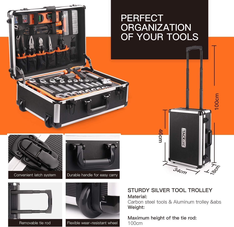 marteau 177pcs jeu de cl/és tournevis BO/ÎTE /À OUTILS HHK5B pinces mallette /à outils valise CrV ALUMINIUM TACKLIFE