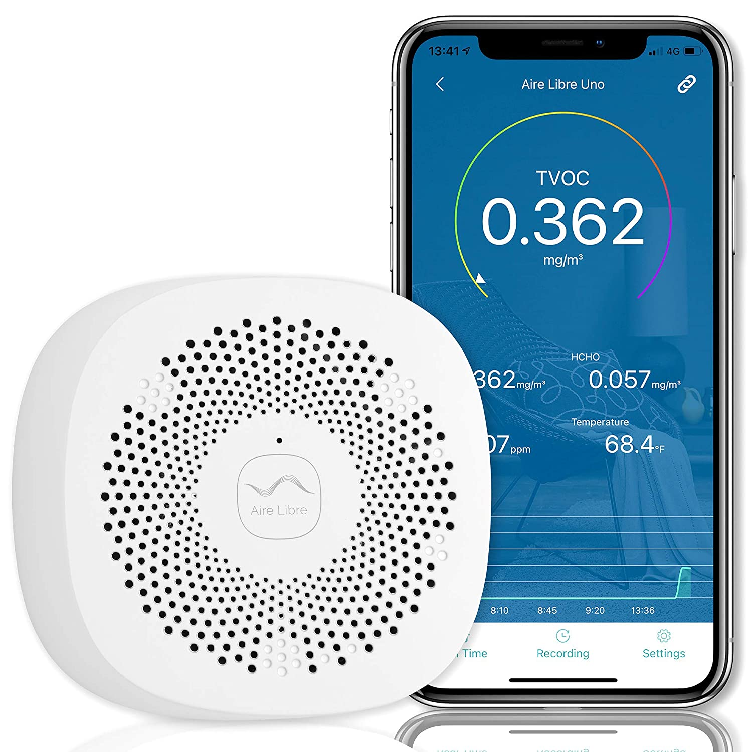 Indoor Air Quality Monitor - 24/7 Indoor Air Quality Detector - Historical Data. Monitor TVOC, Formaldehyde, CO2 and Indoor Temperature from the App