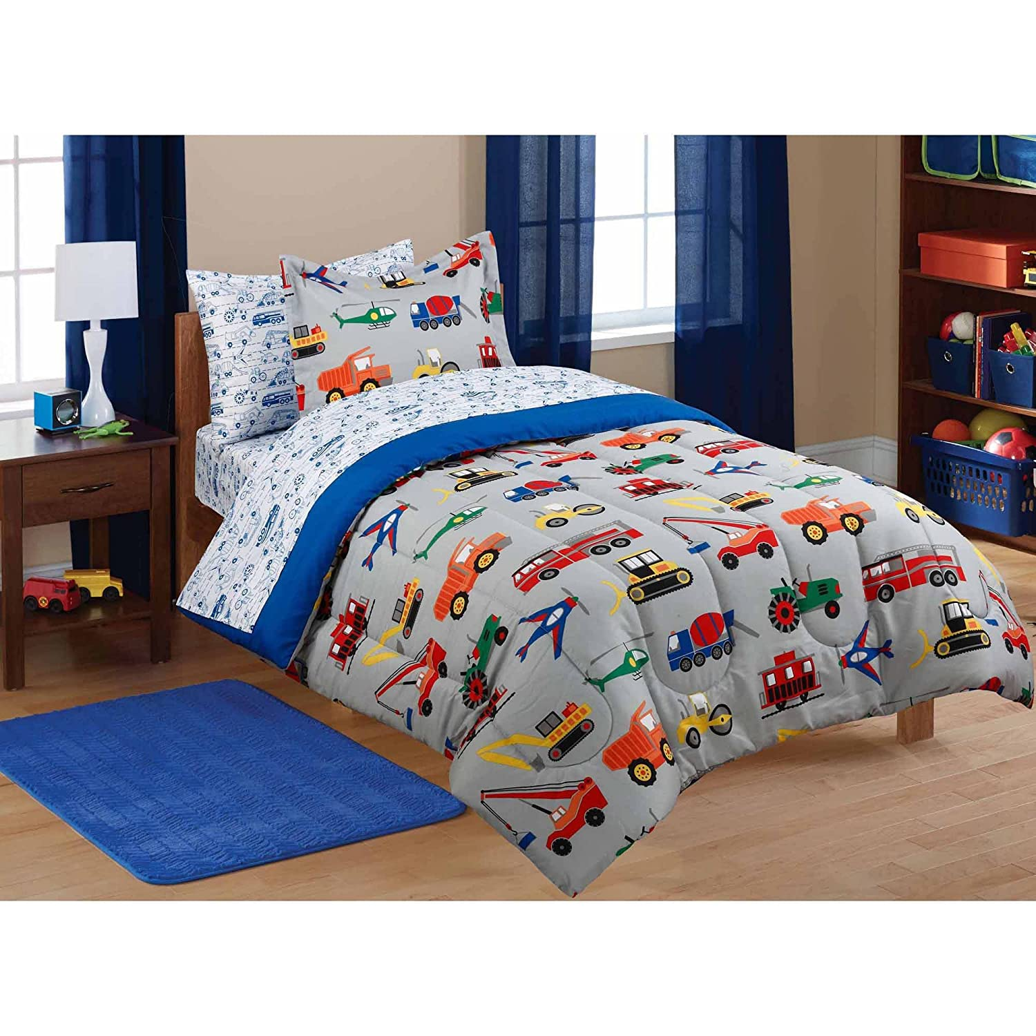 5pc Boy Blue Green Red Car Truck Transportation Twin Comforter Set (5pc Bed in a Bag) Mainstays Kids CF_5PC_Transportation_T