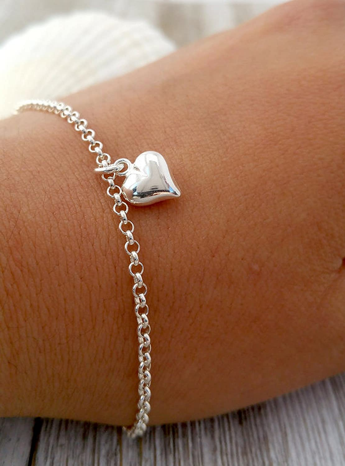 Sterling Silver Heart Charm Bracelet 925 Thin Chain Silver puffy heart Bracelet Love Bracelet Simple Silver Bracelet Dainty Heart Bracelet